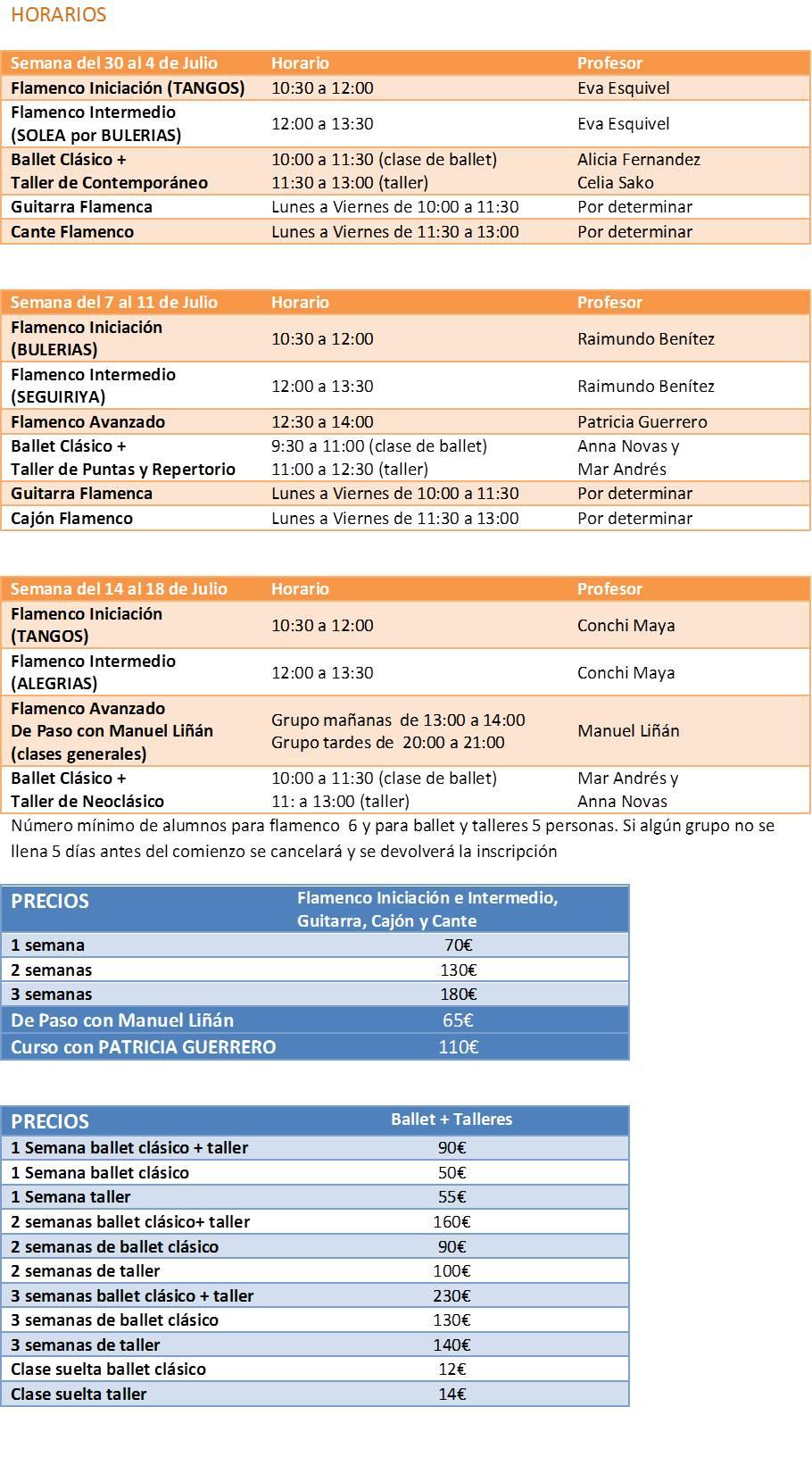 Cursos de Verano Flamenco y Ballet horario v5